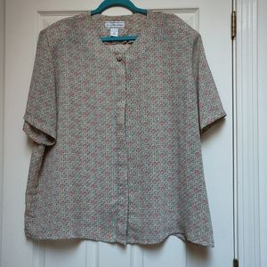 Vintage August Max Woman Sheer 90s Printed Blouse